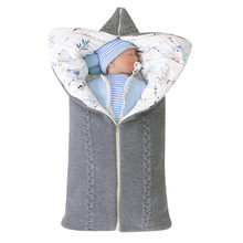 SAGACE Baby Care Newborn Baby Winter Warm Sleeping Bags Infant Zipper Knit Swaddle Wrap Bag Hooded Stroller Wrap Toddler Blanket(China)