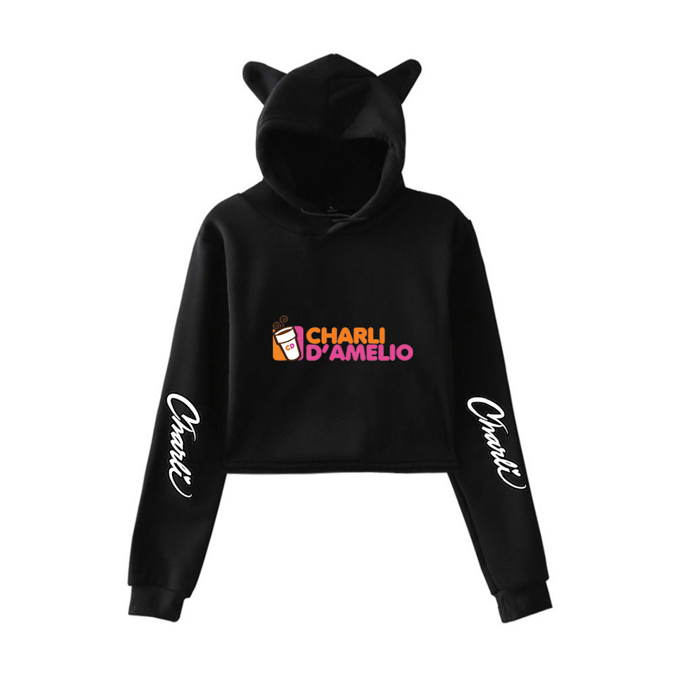 Charli D'Amelio Ice Coffee Splatter Crop top hoodies Women Charli D'Amelio  hoodie Women Pullover Cat ear Hoodie short Sweatshirt|Hoodies & Sweatshirts