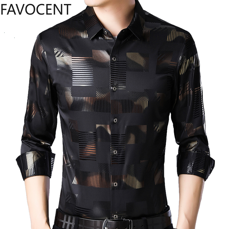 High Quality Printed Shirt Men's Long Sleeve Men Clothes Casual Male Dress Slim Shirt Plaid Shirts Camisa Social Masculina