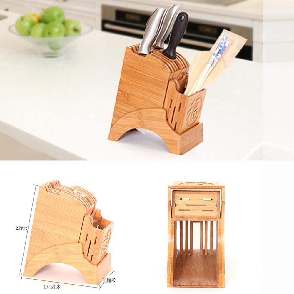 Multifunction Kinfe Cutter Natural Bamboo Storage Holder Rack Household Durable Knife Shelf Block Utensil Stand For Kitchen
