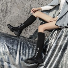 여성 양말 부츠 mid calf booties 여성 패션 캐주얼 신발 여성 편안한 두꺼운 단독 botas mujer 새 디자이너 dropshipping