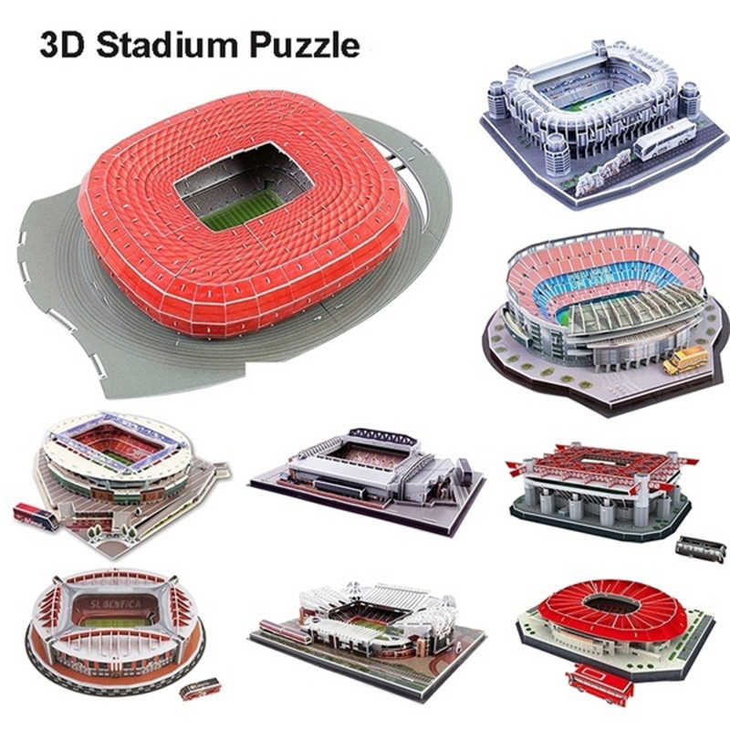DIY 3D Puzzle Jigsaw World Football Stadium European Soccer Playground Assembled Building Model Puzzle Toys for Children GYH