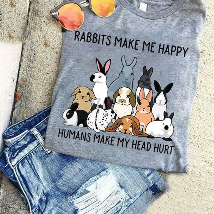 Conejos Me hacen feliz los humanos Me hacen daño en la cabeza camiseta gris algodón hombres S-3XL nueva camiseta de moda