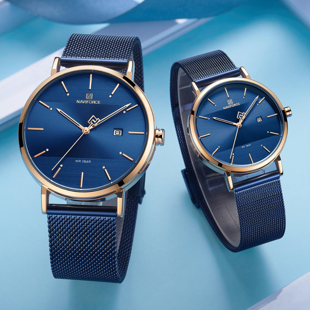 NAVIFORCE Couple Wrist Watches Fashion Casual Quartz Watches Women Analog Clock Ultra Thin Watch Men Lover Gift Steel Strap