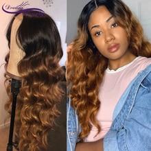 Ombre ondulado peruca de cabelo humano pré arrancadas 13x4 perucas da parte dianteira do laço remy perucas brasileiras glueless peruca ombre marrom sonho beleza