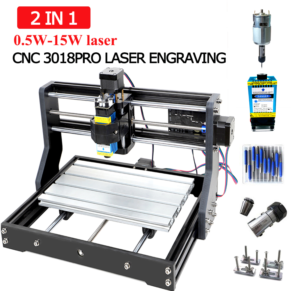 CNC 3018 Pro Laser Engraving Machine 0.5-15W DIY Laser Micro Engraving Machine Can Engrave Wood/ Plastic/ Leather / 15Wstainless