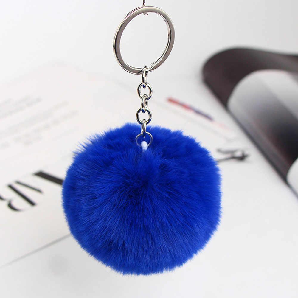 Kabarık kürk ponpon Pom anahtarlık yumuşak Faux Rex tavşan kürk topu araba anahtarlığı ponpon anahtar zincirleri anahtarlık kadın çanta kolye takı