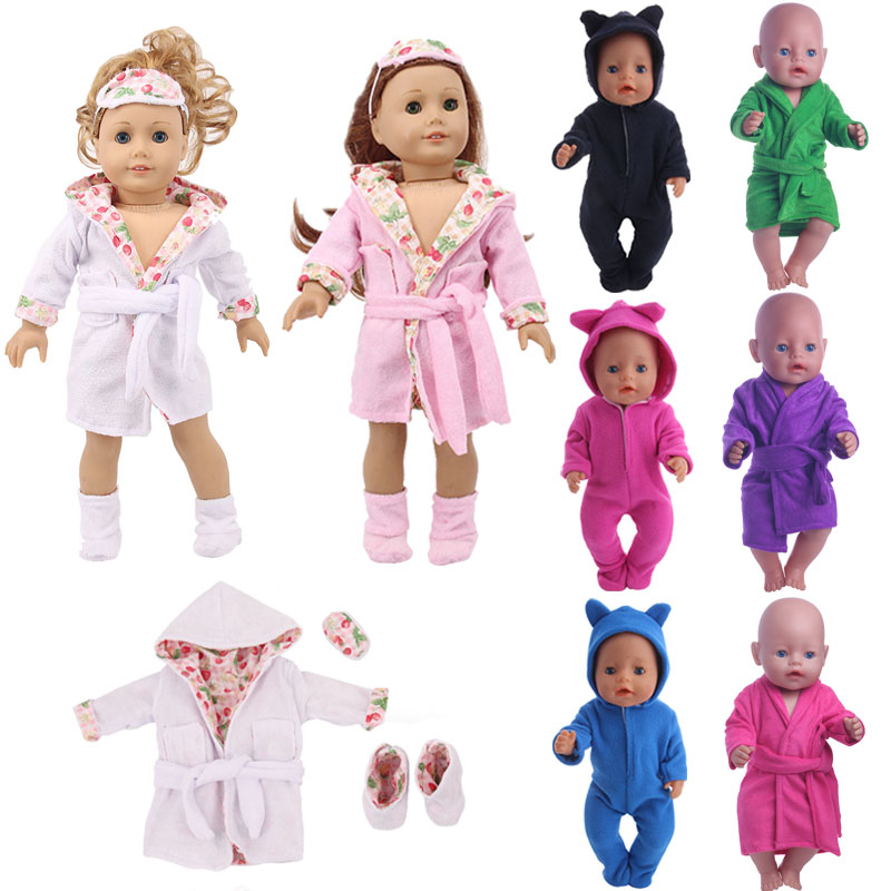 Doll Pajamas 13 Styles Conjoined Pyjamas For 18-Inch American Doll & 43 Cm Born Baby Generation Christmas Birthday Girl's Gift