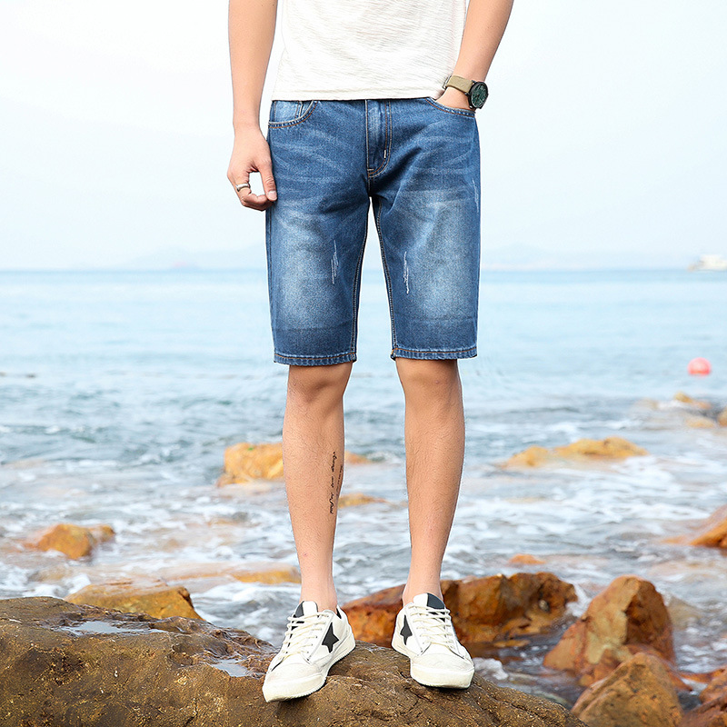2017 Summer New Style Korean-style Denim Shorts Men Simple Shorts Teenager Men's Straight-Cut Shorts Fashion
