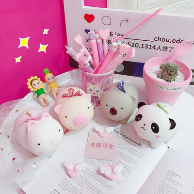 Soft Adorable Plastic Piggy Piggy Bank Creative Piggy Bank Cute Doll Room Decoration Photo Props Gifts