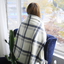 Simanfei Wearable Wool Blanket Plaid Shawl Portable Winter Soft Warm Fluffy Adult Hooded Travel Throw For Sleeping In The Car