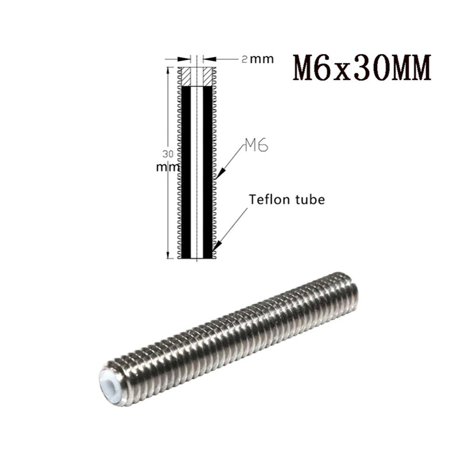 1PCS M6x30mm Nozzle Throat Stainless Steel Tube For 3D Printer Extruder 1.75mm