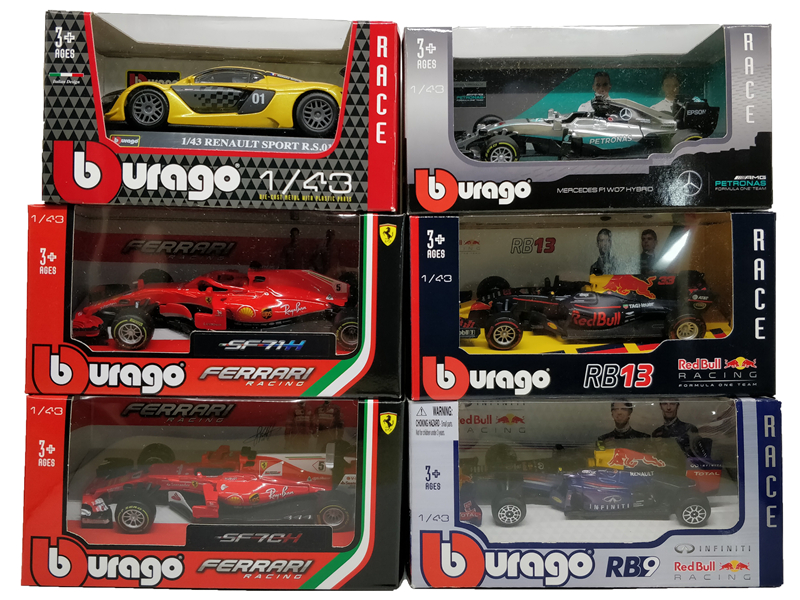 BBurago F1 Scale 1:43 RedBull AMG W05 W07 SF71H SF70H SF16 RB13 RB14 RB15 2019 SF90 Diecast Racing Model Car Toy Cars