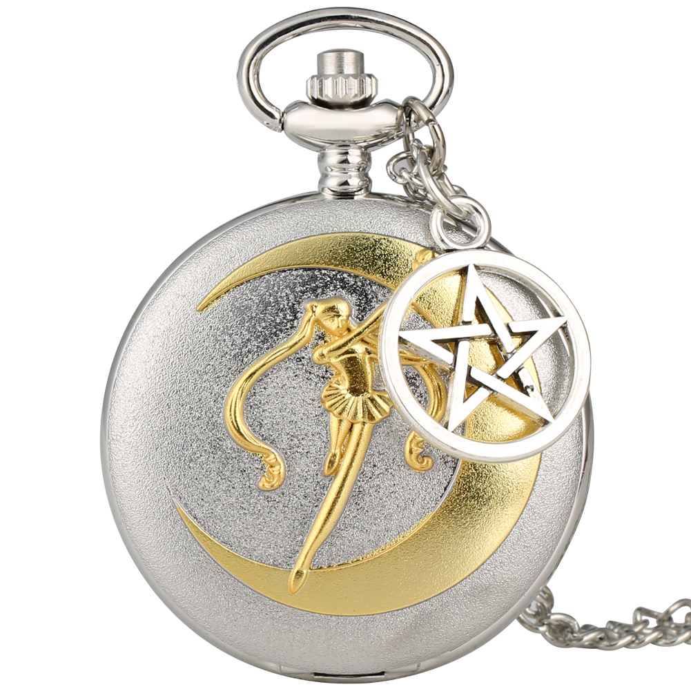 Silver Quartz Pocket Watch Ladies Stylish Sailor Moon Pendant Watches Female Clock Creative Star Slim Chain Reloj De Bolsillo