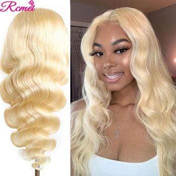 Middle Part Body Wave 613 Honey Blonde Lace Front Human Hair Wigs Pre plucked Brazilian 13*1 Glueless Lace Frontal Wig Remy image