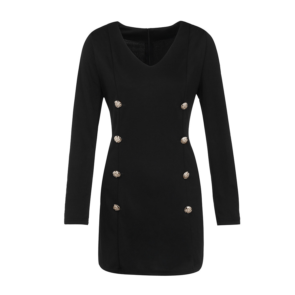 vestido de mulher Women Slim Long Sleeve Buttons Casual Bodycon Cocktail Mini Dress S dresses for
