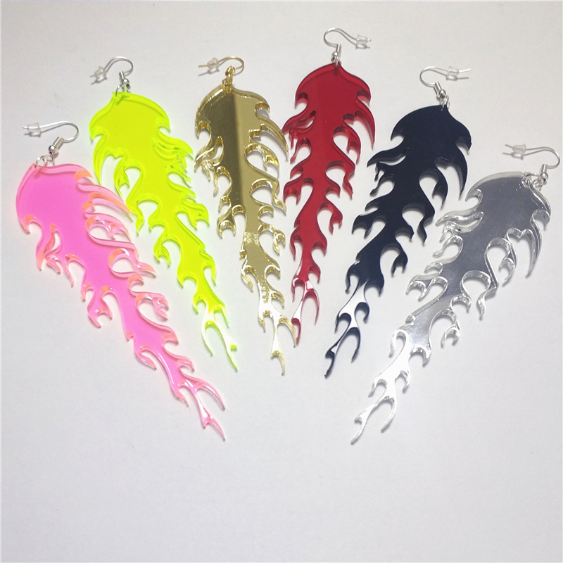 NEW Fire Flame Drop Earrings For Women Long 11cm/4.3'' Dangle Earring Woman Girls Jewellry Neon Green Pink Acrylic Accessories