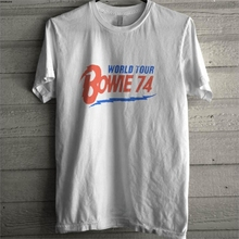 Camiseta retro de David Bowie mundo Tour Bowie 74 reimpresión de la marca de los hombres impreso 100% camiseta T shirt de algodón Top tricolor tee sbz8173