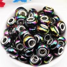 10 Teile/los AB Einfarbig Große Loch Runde Core Spacer Europäischen Perlen Fit Pandora Armband Armreif für Frauen DIY Schmuck, der