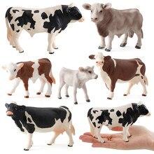 Jardim zoológico fazenda diversão brinquedos modelo para crianças bebê vaca figura de ação simulado animal estatueta plástico modelos brinquedos educativos presentes