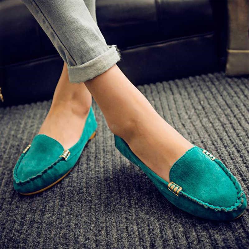 Phụ Nữ Bằng Giản Mùa Xuân, Mùa Thu Phẳng Loafer Nữ Giày Trượt Mềm Mũi Tròn Denim Bãi Quần Jean Giày Plus Kích Thước