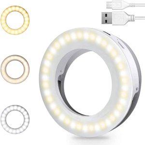 Кольцевой светильник для селфи, светодиодный Круглый Мини-светильник с зажимом для телефонов, аккумуляторная лампа с клипсой для нанесения...