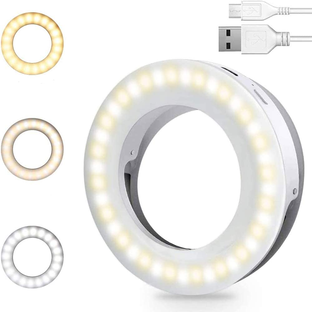 Selfie Light Ring Lights Led Circle Mini Light Clamp for Phones Rechargeable Clip-on Makeup Fill Light Laptop Camera  Video