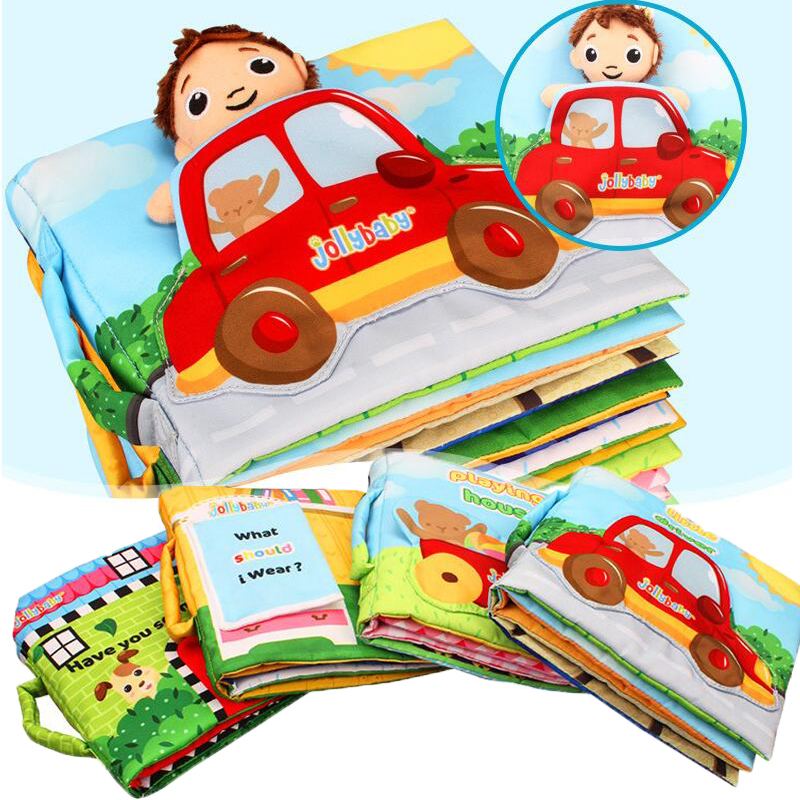 My First Book Cartoon Car Fruits Design Educational Funny Cloth Fabric Book Infant Development Reading Story Activity Books
