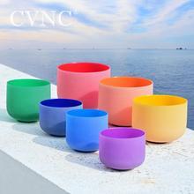 "CVNC 8 ""   14"" ชุด 7pcs สี Frosted QUARTZ Chakra คริสตัลร้องเพลงชาม"