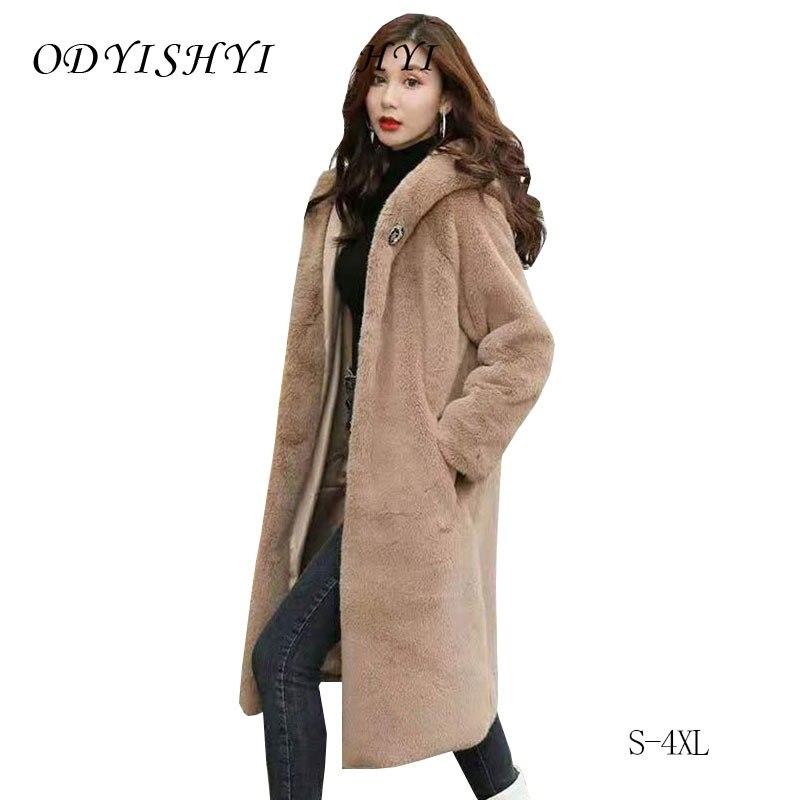 Women Faux Mink Fur Hooded Chic Jacket Sweet Outwear Loose Overcoat Plus Size