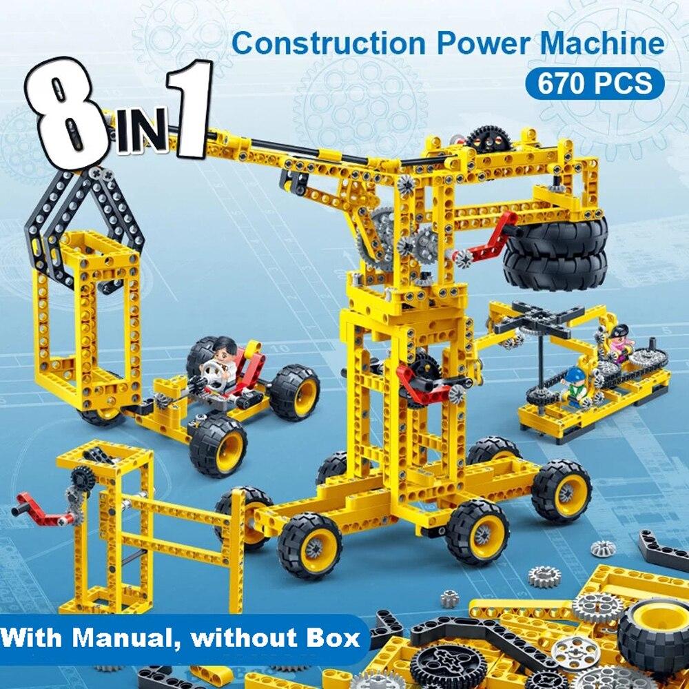 8 In 1 Construction Machine Educational Technic Innovation Building Block Power Machinery DIY Bricks For Children Kids Toy 6902