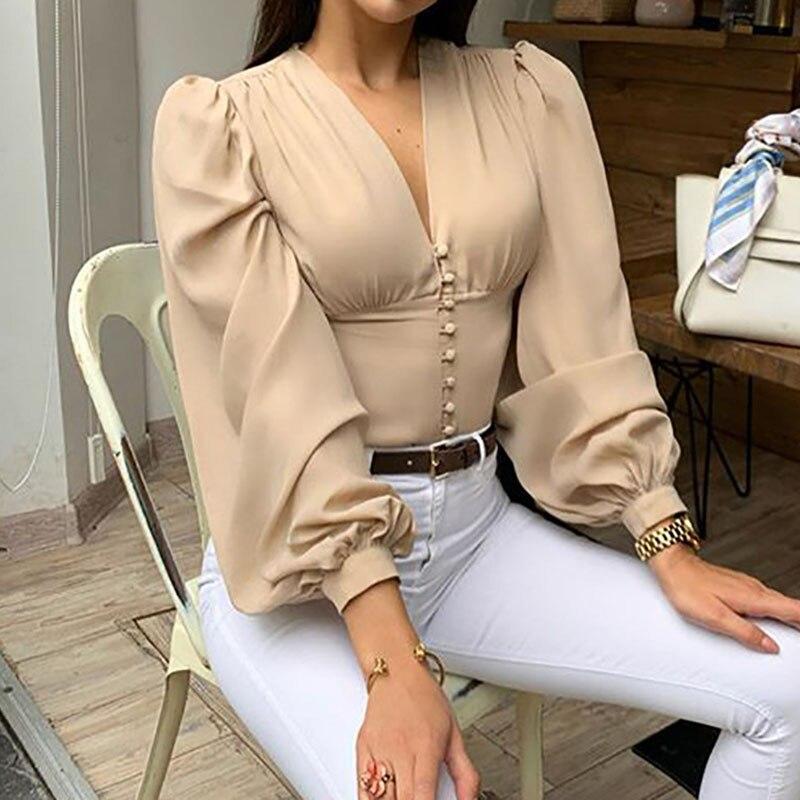 Vintage Blouses Woman Sexy V-Neck Black Button Lantern Long Sleeve Slim Spring New Elegant Lady Office Shirt Top Blusas LX245