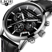 LIGE 2020 Luxury Mens Watches Leather Strap Stopwatch Luminous Hands Calendar 30