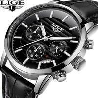 LIGE 2020 Luxury Mens Watches Leather Strap Stopwatch Luminous Hands Calendar 30M Waterproof Men Wristwatch Quartz Male Watch|Quartz Watches|Watches -