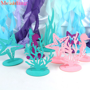 2pcs Mermaid DIY Felt Table Decorations Under the Sea Little Mermaid Party Decor Girl 1st Birthday Party Supplies Baby Shower