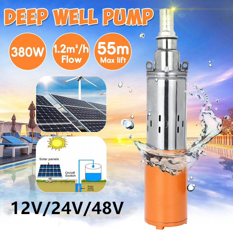 Portable Deep Well Submersible Pump Stainless Steel Screw Solar Water Pump for Agriculture Farm Garden Home Fish Ponds,12v 220w max head 30m