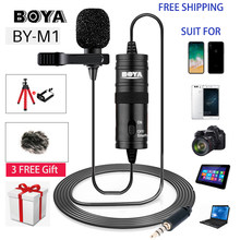 BOYA BY-M1 6M Microphone Clip-on Lavalier Mini Audio 3.5mm Collar Condenser Lapel Mic for Recording Canon / iPhone DSLR Cameras(China)