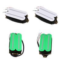 4Pcs Dual Rail Humbucker Humbucking Pickups for ST for Gibson Les Paul Electric Guitar Part Green White