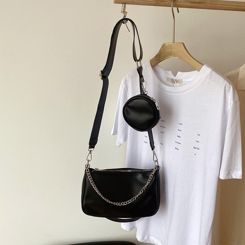 2021 Новый Комплект из 2 предметов Курьерские сумки Для женщин ретро Crossboy сумки Сумка через плечо из искусственной кожи с отделением для монет, кошелек и женская сумочка кошелек