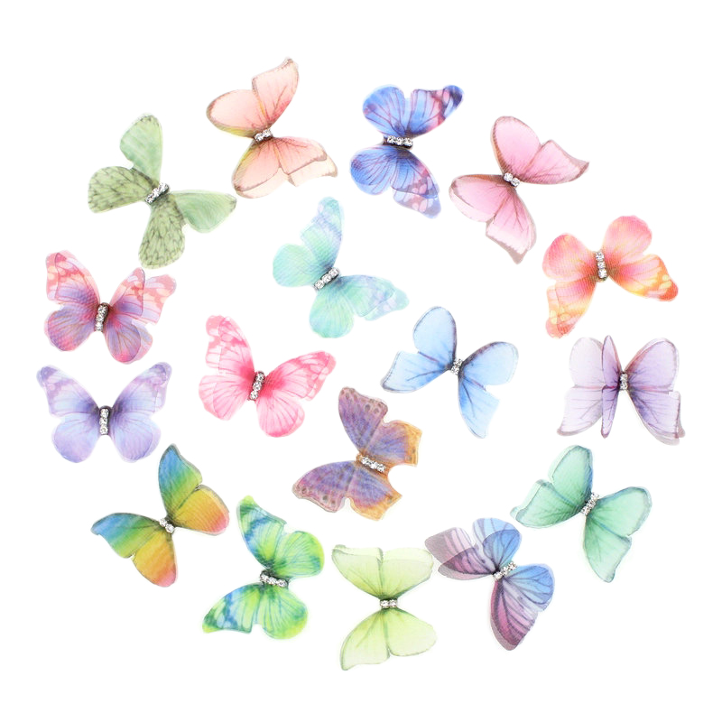 50Pcs Gradient Color Organza Fabric Butterfly Appliques 38Mm Translucent Chiffon Butterfly For Party Decor, Doll Embellishment