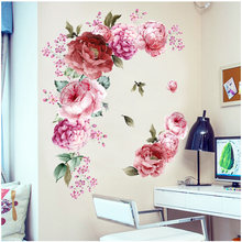Watercolor Pink Peony Flowers Wall Stickers for Kids Room Living Room Bedroom Home Decoration Peony Romantic Flowers Home Decor(China)