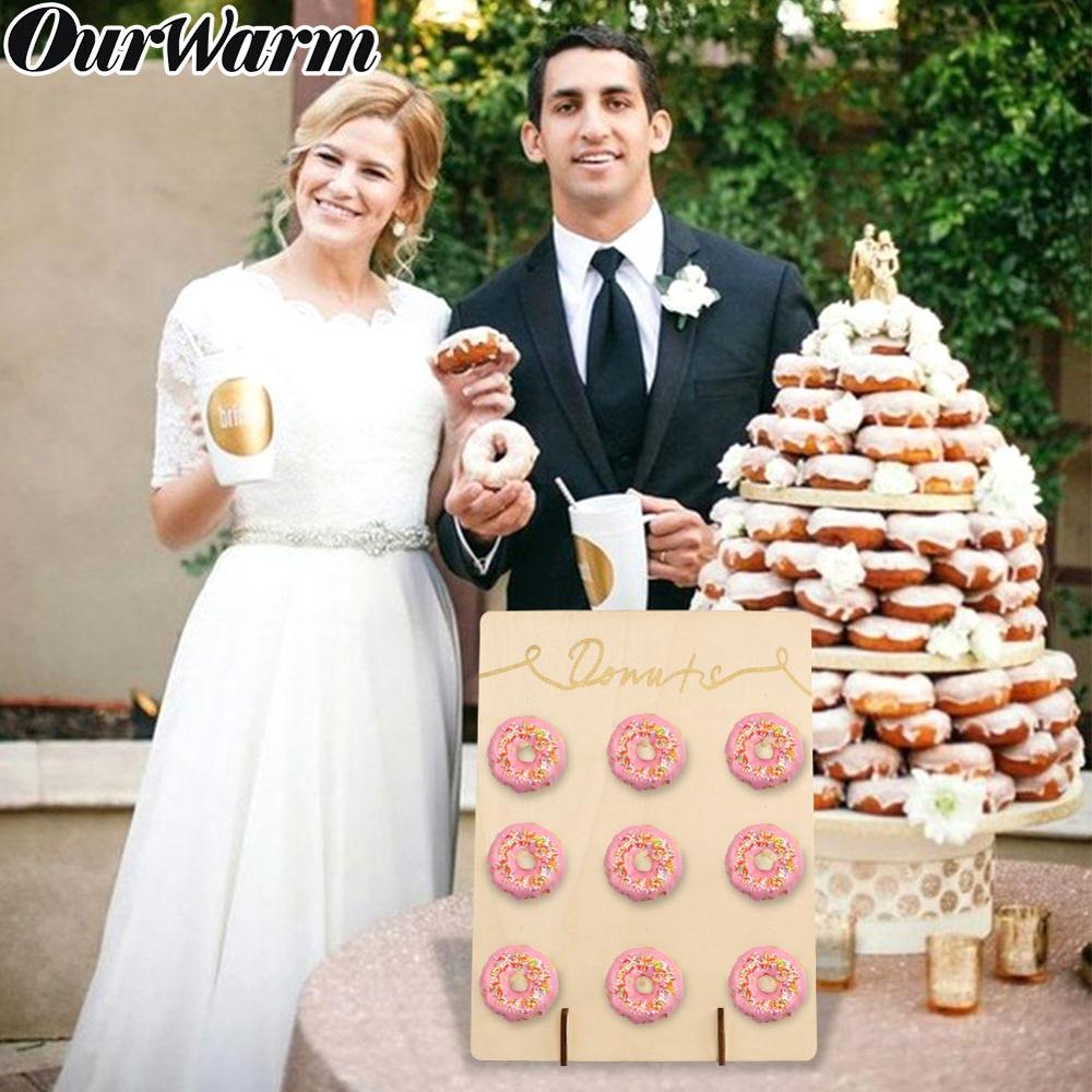 OurWarm Donuts Stand Donut Wall Display Holder Wedding Decoration Birthday Party Supplies Baby Shower Wood Donut Holder