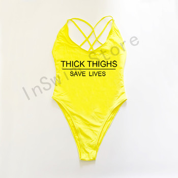 THICK THIGHS SAVE LIVES Swimsuit Plus Size Swimwear Women One Piece Bathing Suit 2021 New High Cut Beach Wear monokini  cupshe 3