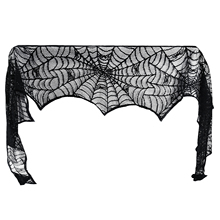 Halloween Decorative Stove Towel Party Decoration Black Lace Fireplace Cover For
