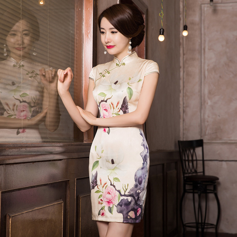 2019 Limited Printed Silk Qipao Dress Manufacturers To Restore Ancient Ways Of Cultivate Morality A Short Paragraph Undertakes