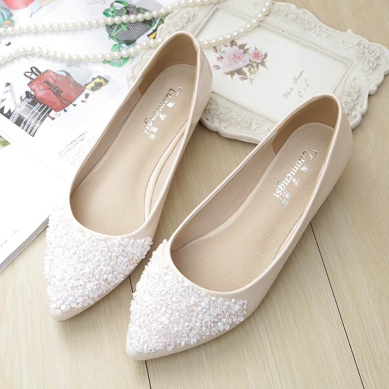 Korean-style Versatile  2020 Summer New Style Shallow Mouth Single Shoes Women's Sequin Shoes Surface Flat Top Shoes Women's
