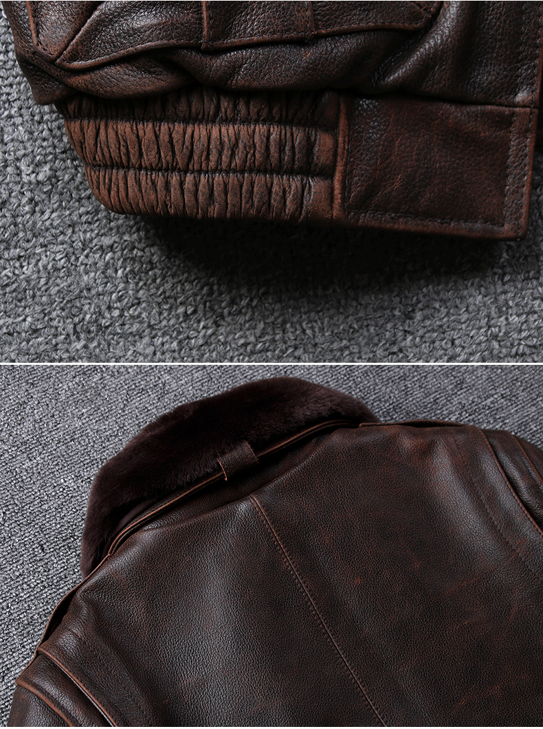 Hf88e9e7c3edf4907af32ea193a1d3a69S 2019 Vintage Men's G1 Air Force Pilot Jackets Genuine Leather Cowhide Jacket Plus Size 5XL Fur Collar Winter Coat for Male