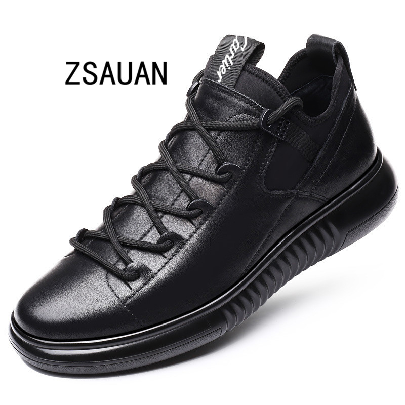 ZSAUAN New Arrival Men Fashion 5CM Elevator Shoes Trending Winter Warm Plush Sneaker Black Leather Non-slip Outdoor Casual Shoes