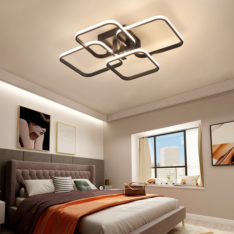 Square Circel Rings Chandelier For Living Room Bedroom Home AC85-265V Modern Led Ceiling Chandelier Lamp Fixtures Free Shipping 4