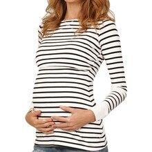 Футболки для беременных; женская одежда для мам; Одежда для беременных и кормящих детей; топ в полоску с длинными рукавами; одежда для грудного вскармливания для беременных